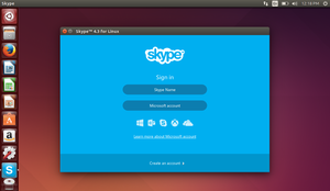 The login screen on Skype for Linux