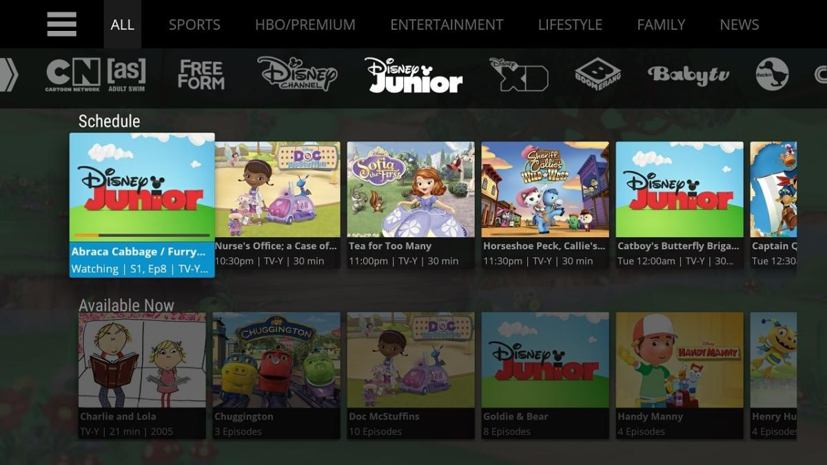SlingTV channel menu