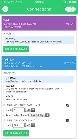 speedify iphone connections