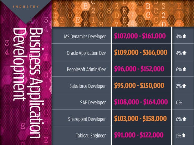 Business application development tech industry salaries