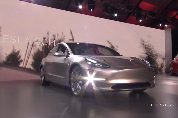 tesla model 3 press event 3qtr shot