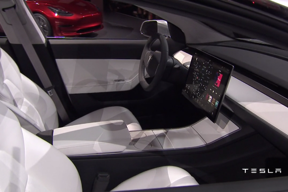 tesla model 3 press event interior shot