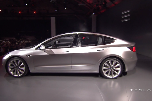 tesla model 3 press event side shot