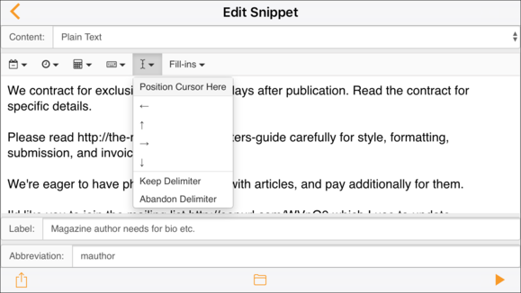 textexpander ecosystem ios app snippet editor