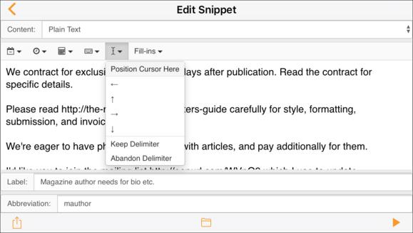 textexpander ecosystem ios app snippet editor