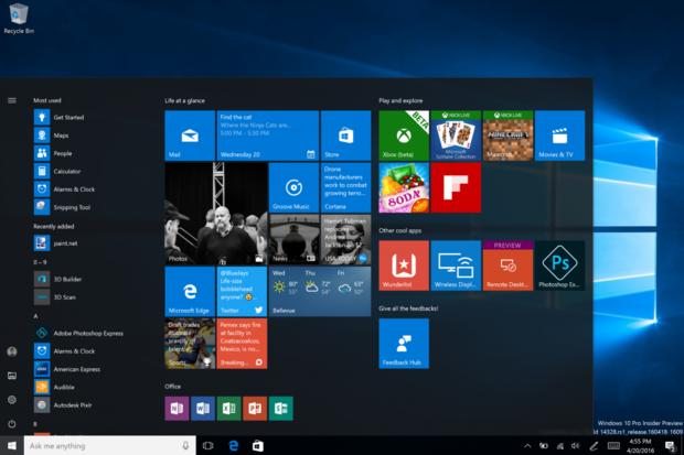 Windows 10 updated start menu
