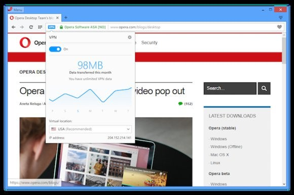 opera vpn enabled popup