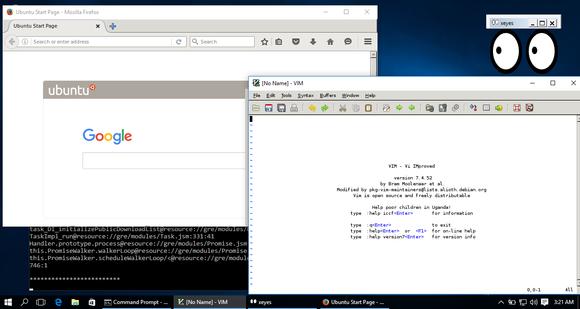 Windows 10 running Linux desktop applications.