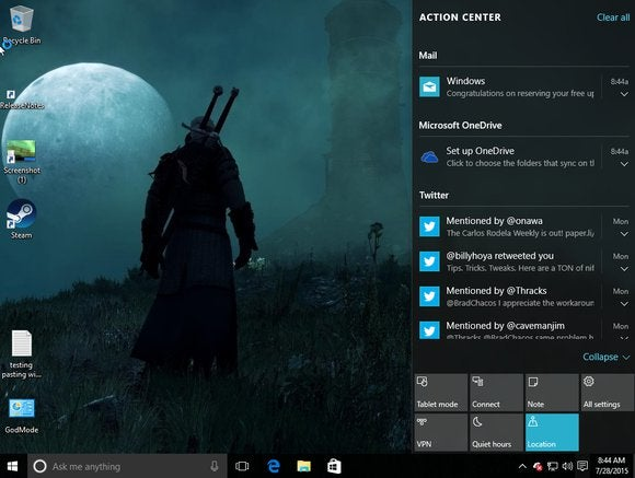 windows 10 action center