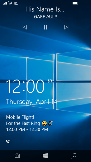 windows 10 mobile 14322 lock screen