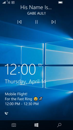 windows 10 mobile 14322 lock screen