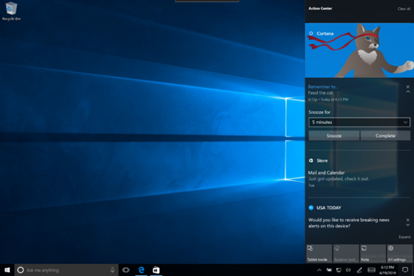 windows 10 new action center Build 14328