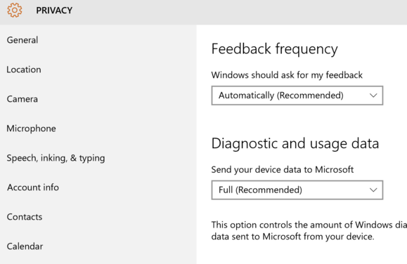 windows 10 privacy settings feedback