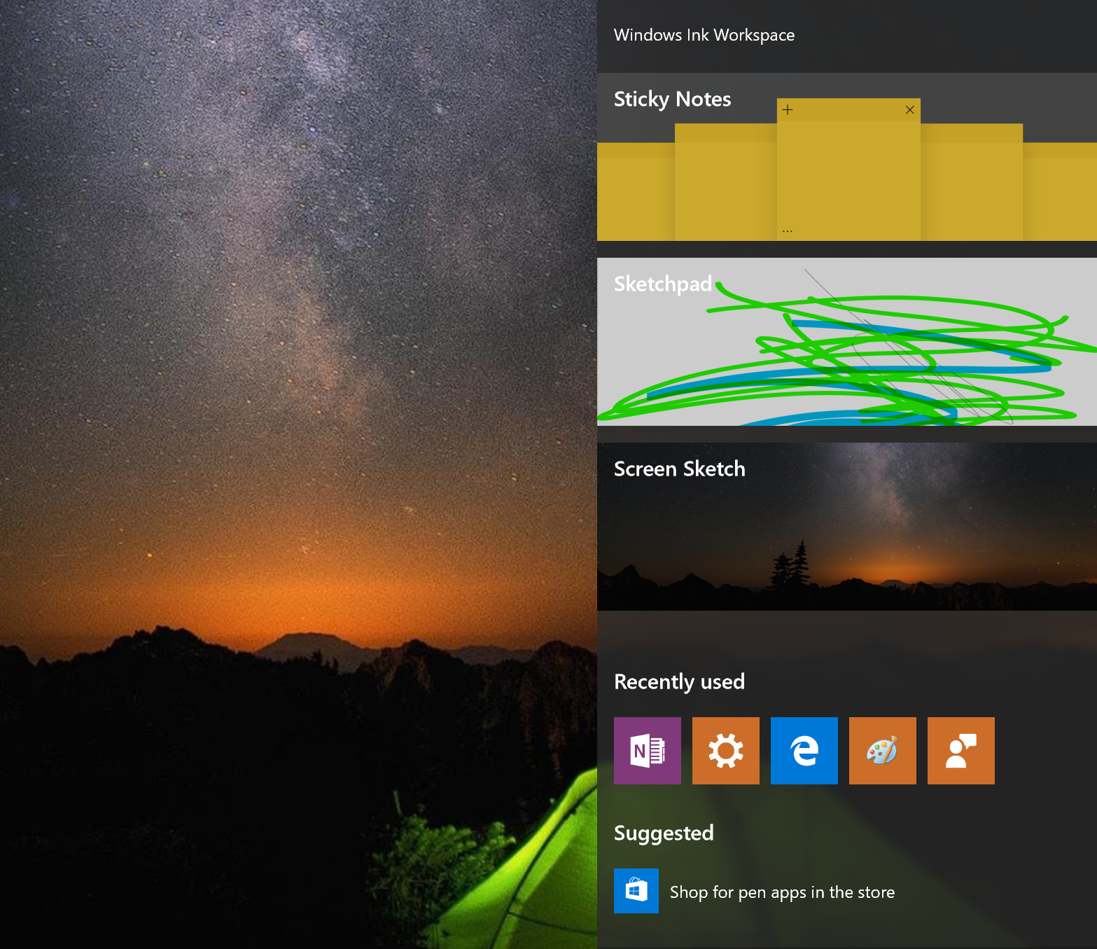 Hands on with windows 10s new windows ink pcworld the windows ink workspace puts pen enabled windows apps at the top with more granular settings down below malvernweather Choice Image