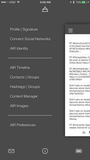air social keyboard app sidebar