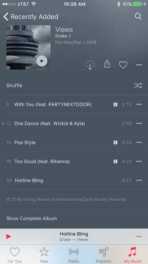 apple music ios drake views