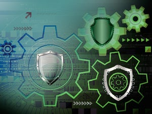 cybersecurity shield and gear image