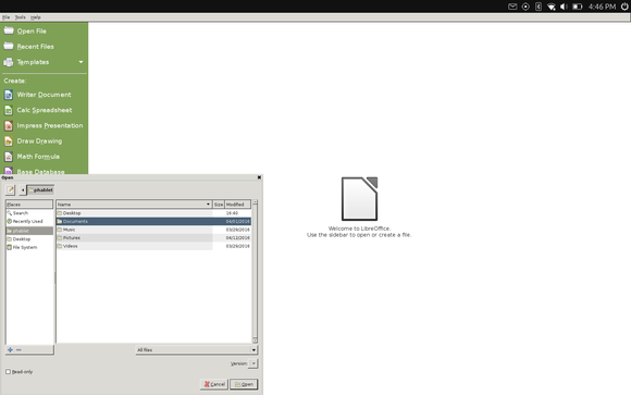 LibreOffice on the BQ Aquaris M10.