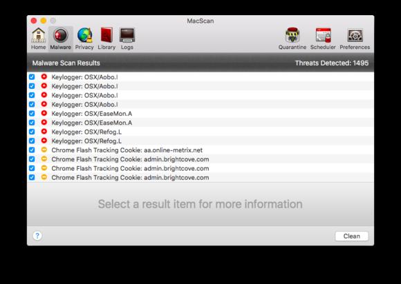 macscan 3 malware results