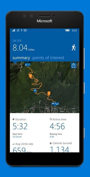 microsoft health app hiking