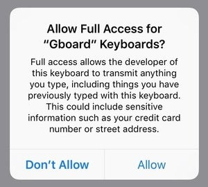 privatei ios keyboard warning