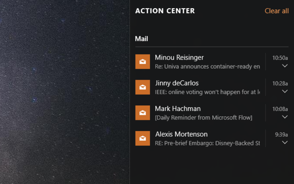 windows 10 action center notifications
