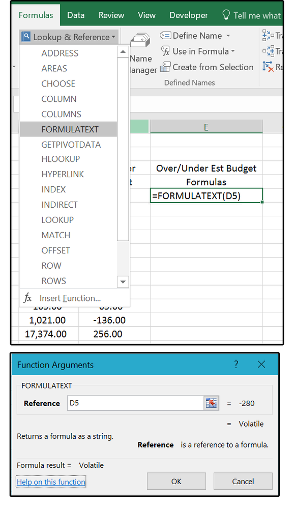 01 use the formulatext function to display actual formulas