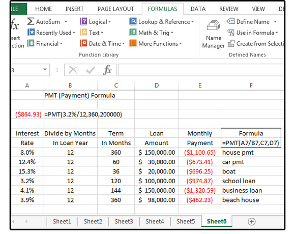 01 use the pmt function to calculate loan payments