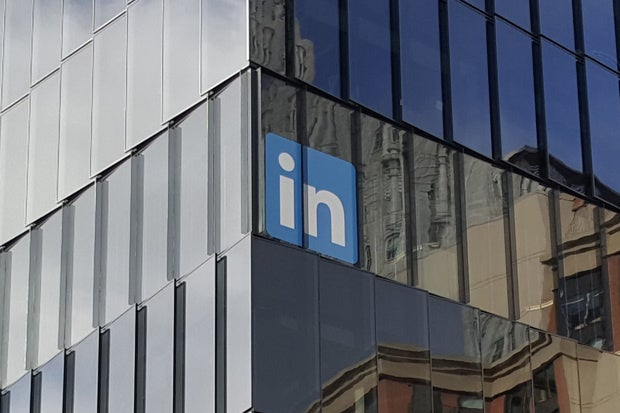 The LinkedIn logo is seen on the company's building in San Francisco on June 13, 2016. Credit: Martyn Williams