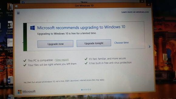 Windows 10 upgrade dialogue