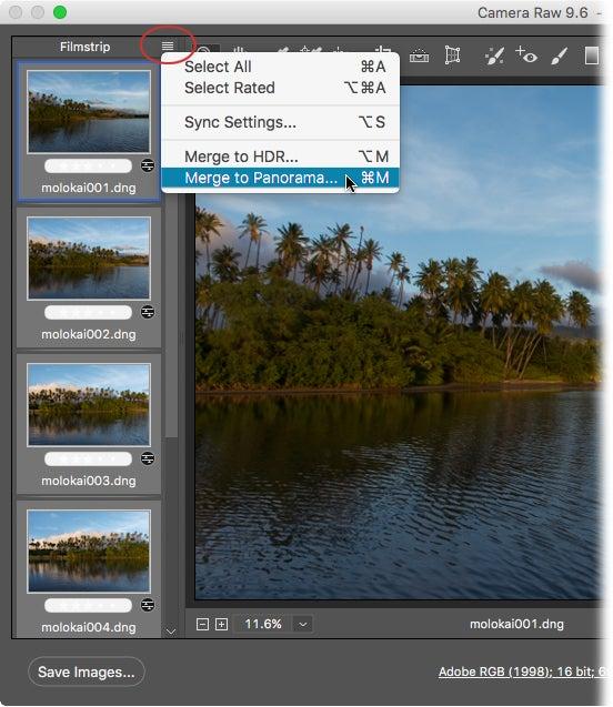 How to stitch photos into a panorama using Adobe Camera Raw