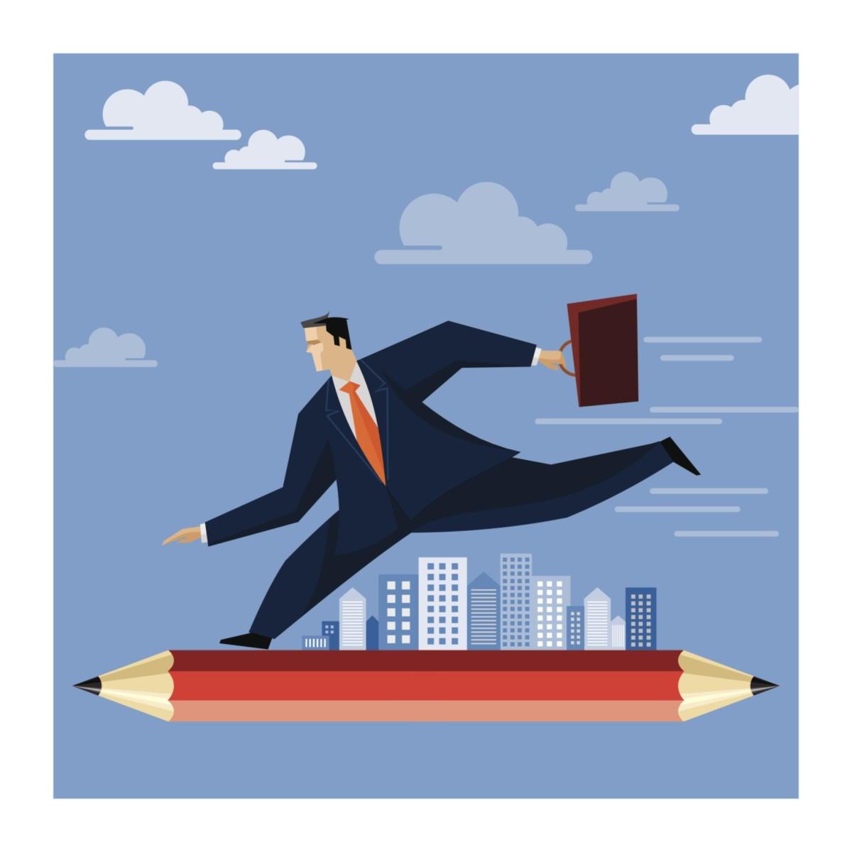 illustration of agile businessman