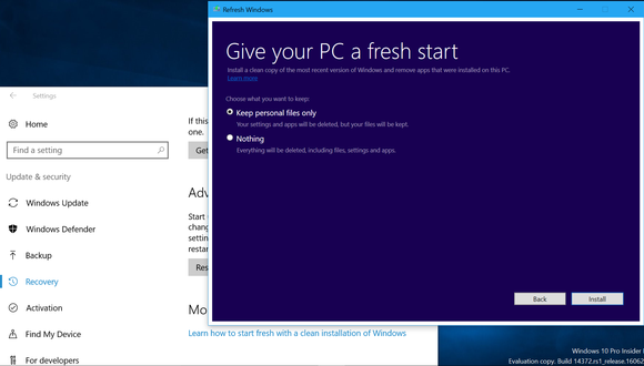 The new Give your PC a fresh start tool on Windows 10.