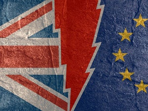 Brexit - Britain, European Union divided flags