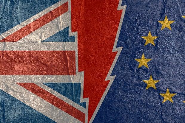 Brexit - Britain, European Union divided flags