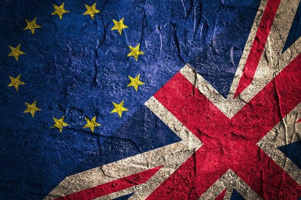 Brexit - Britain, European Union flags