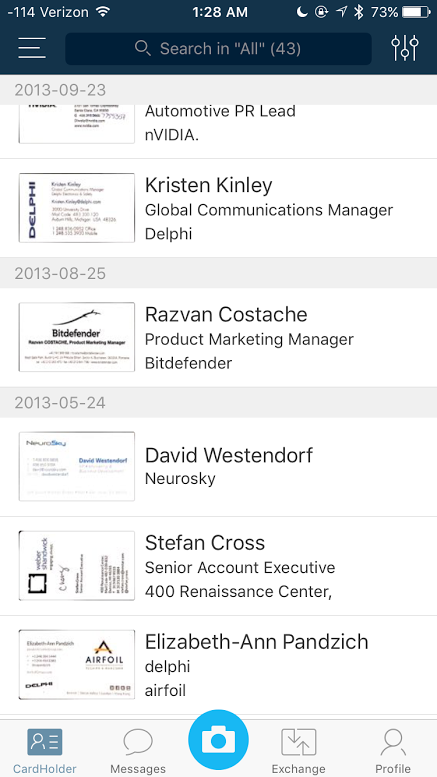5 apps to help you digitally organize business cards macworld camcard contacts list reheart Images