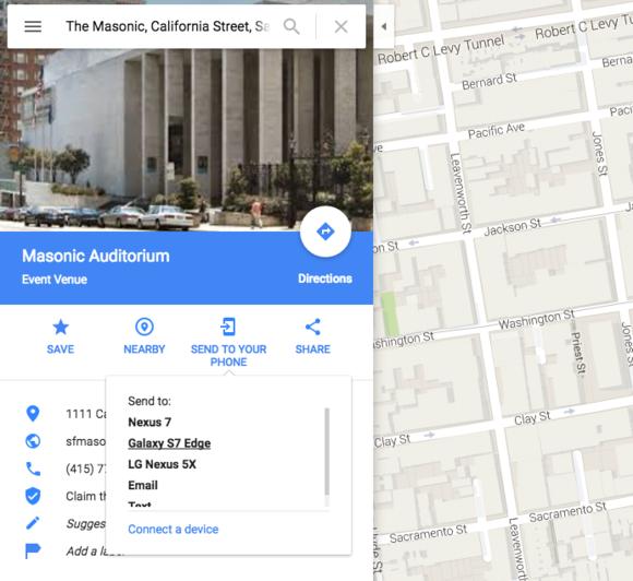 google maps send to