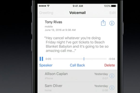 ios 10 voicemail transcription