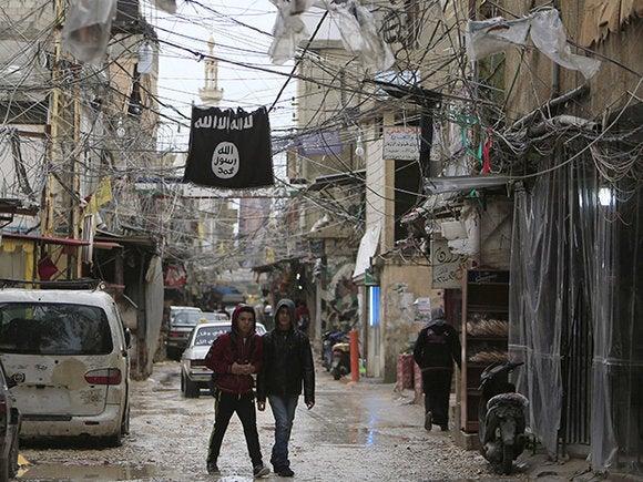 isis flag refugee camp