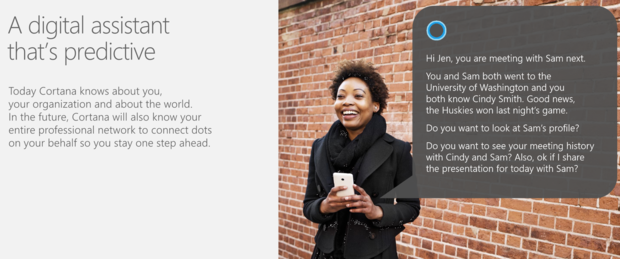 Cortana mining LinkedIn