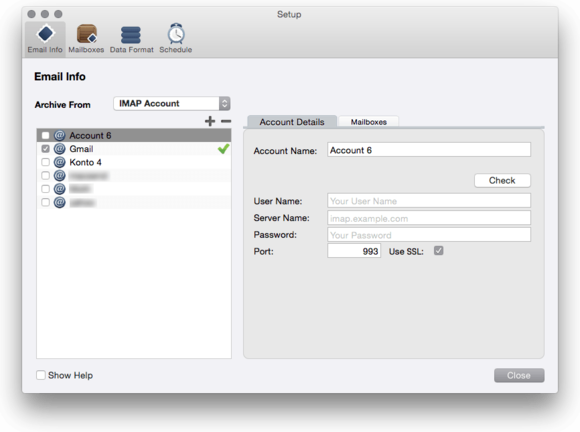 mail archiver x imap accounts