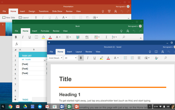 Microsoft's Word, Excel, and PowerPoint Android apps on a Chromebook.