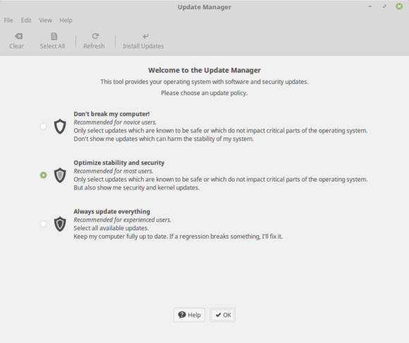 Linux Mint 18 Update Manager