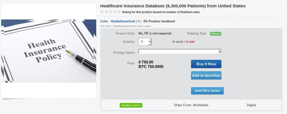 Dark Net patient records privacy healthcare
