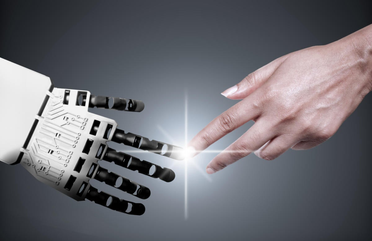 robot reaching out to human hand