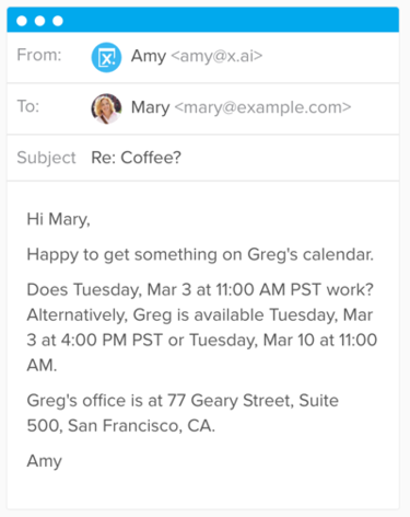 Amy virtual assistant