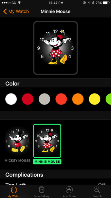 watchos 3 minnie mouse colors