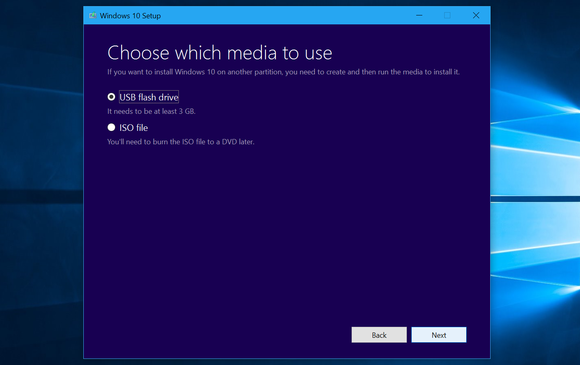 Microsoft's Windows 10 download tool.