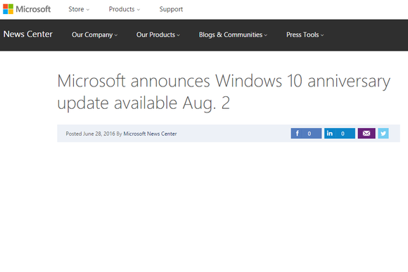 windows 10 anniversary update press headline aug 2